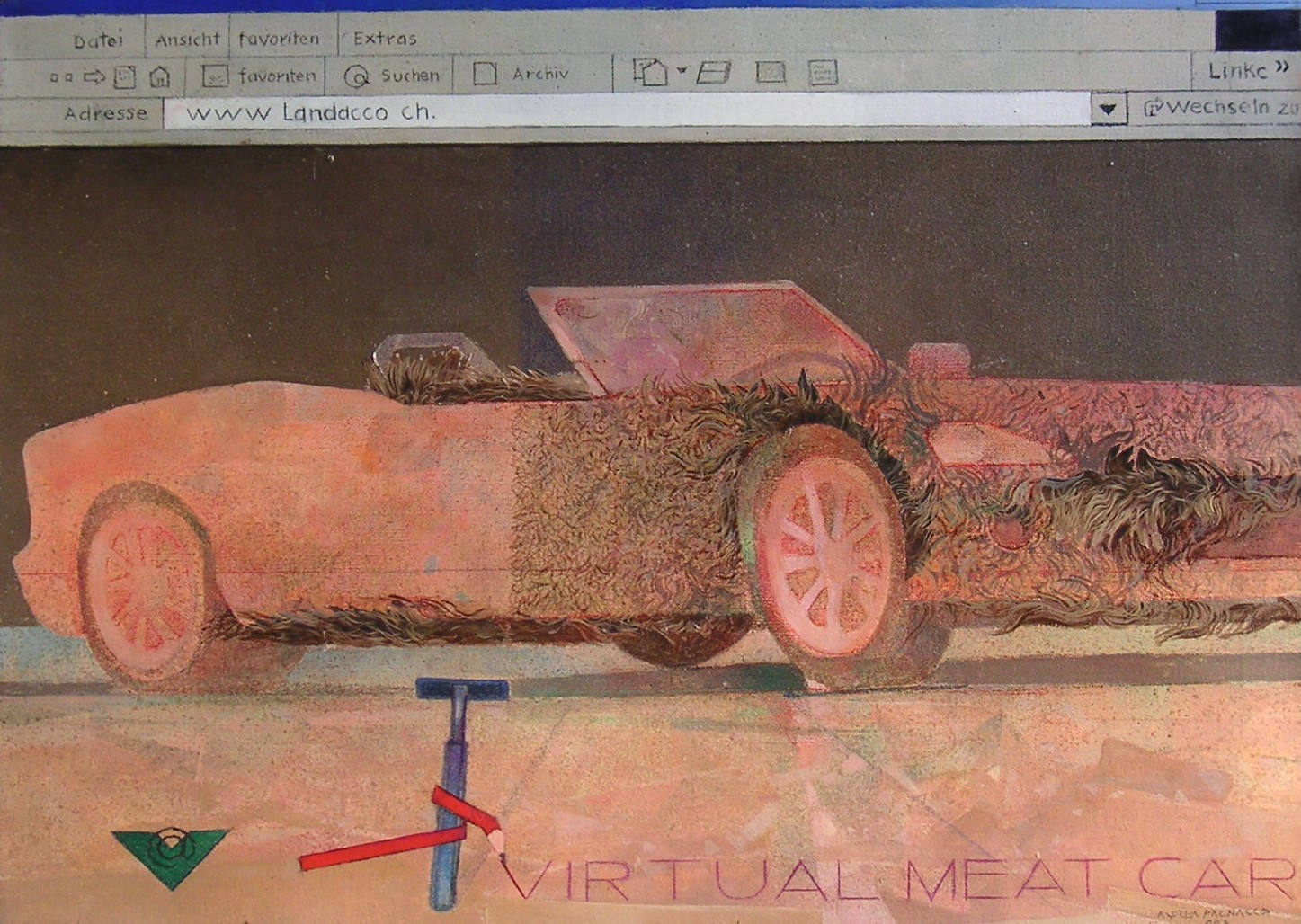 Andrea Pagnacco, Virtual Meat Car, tecnica mista su carta, cm 50 x 70